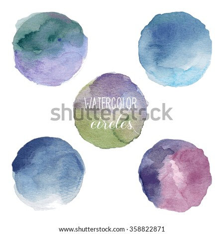 Watercolor circles in cold colors. Vector illustration. Easy to edit