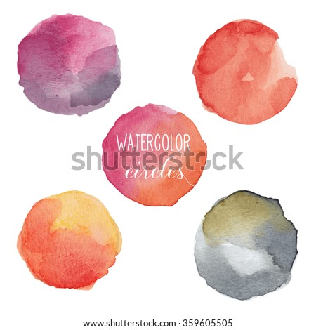 Watercolor circles in warm colors. Vector illustration. Easy to edit