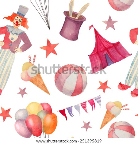 Watercolor Circus seamless pattern. Hand drawn vintage background with carnival objects: ice cream, air balloons, clown, rabbit in the hat illusion, ball and star. Vector cartoon texture - stock vector