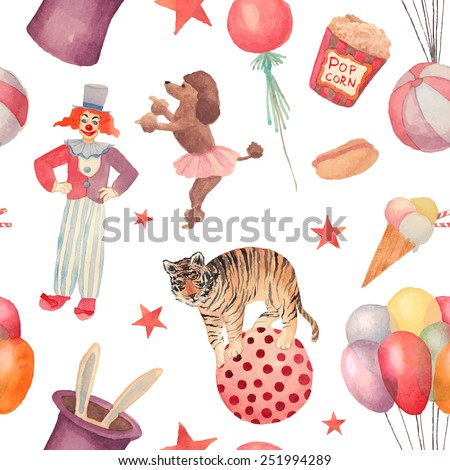 Watercolor Circus seamless pattern. Hand drawn vintage background with carnival objects: ice cream, air balloons, clown, rabbit in the hat, ball, stars, trained tiger and dog. Vector cartoon texture - stock vector