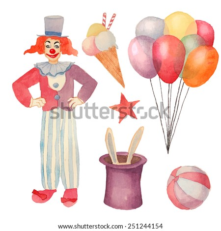 Watercolor Circus Set Hand Drawn Vintage Carnival Objects Ice Cream Air Balloons