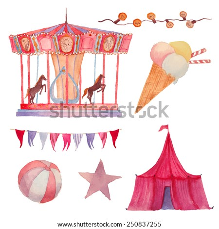 Watercolor Circus set. Hand drawn vintage carnival objects: ice cream, circus, carousel, garland, festoon bulbs, ball and star. Vector design elements - stock vector