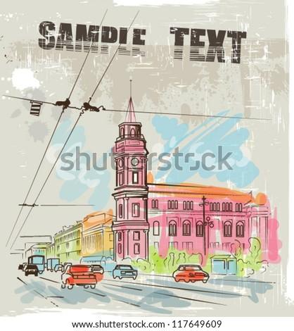 Watercolor city sketch - stock vector