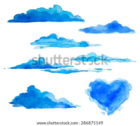 watercolor clouds - stock vector