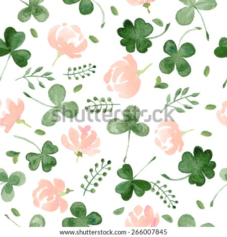 Watercolor Clover and little flowers seamless vector pattern. - stock vector