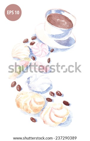 watercolor coffee cup with zephyr, drawn mug - stock vector