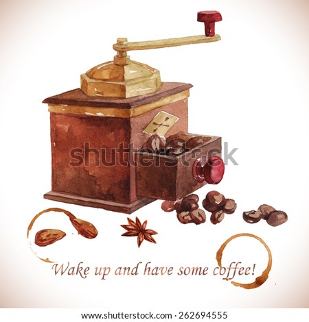 Watercolor coffee grinder with coffee beans over white - stock vector