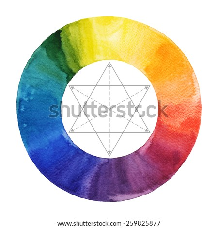Watercolor Color Wheel Handmade Painting Vector Illustration