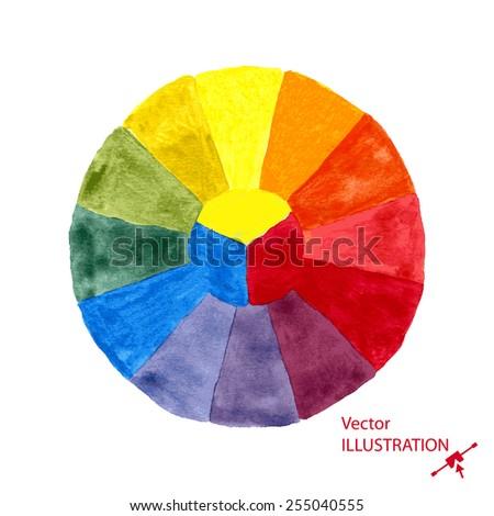 Watercolor color wheel. Vector illustration EPS10. - stock vector