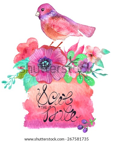 Watercolor colorful abstract background. Birds and flowers for wedding design - stock vector