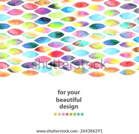 Watercolor colorful abstract background. Seamless pattern of paint splash watercolor drops over white, VECTOR - stock vector
