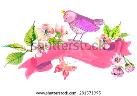 Watercolor colorful background. Birds and flowers with pink ribbon for wedding design, Vector - stock vector