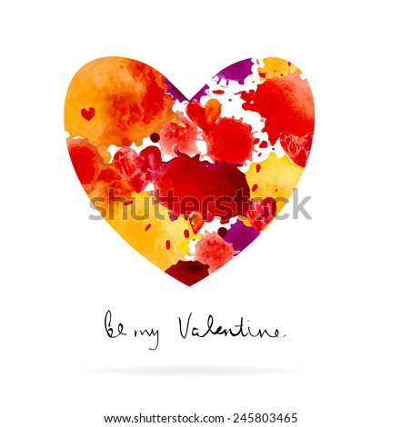 Watercolor colorful blot and heart and text for holiday design, Valentine's day - stock vector