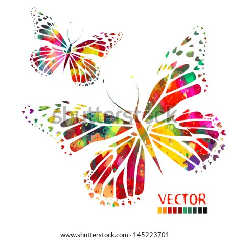 watercolor colorful butterflies - stock vector