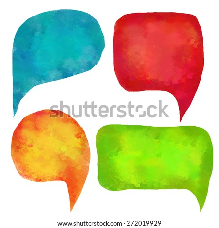 Watercolor colorful speech bubbles, frames set. Green, blue, orange, red isolated on white background
