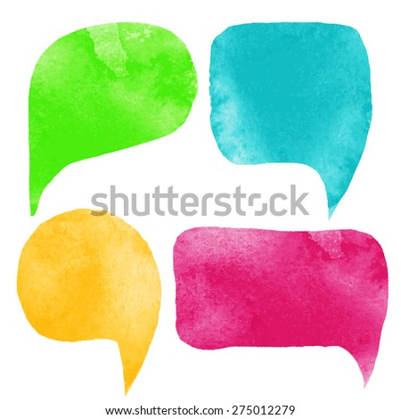Watercolor colorful speech bubbles, frames set. Green, blue, yellow, red isolated on white background  - stock vector