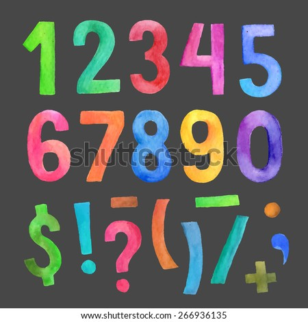 Watercolor colorful vector handwritten numbers and symbols - stock vector
