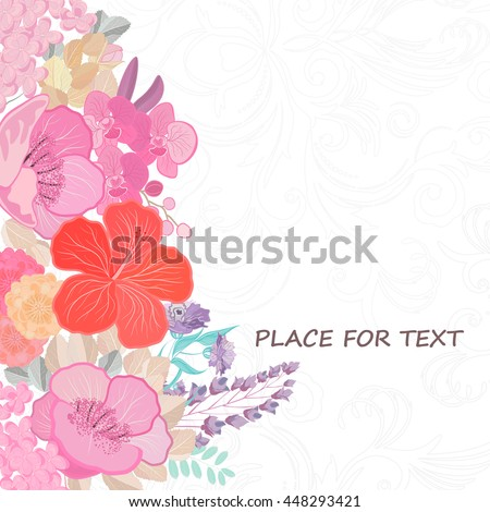 Watercolor colors flower background. Spring nature design with floral branches. Abstract illustration vector card.