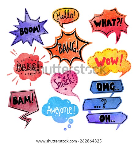 Watercolor comics speech bubble with expressions stickers set isolated vector illustration - stock vector