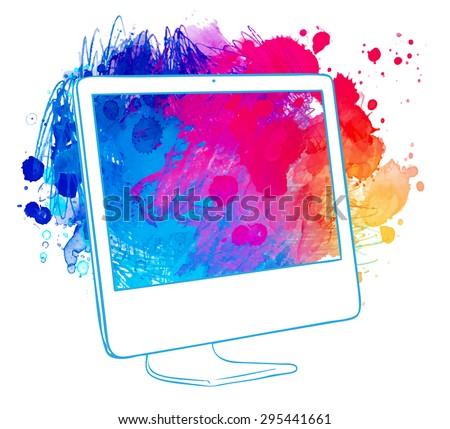 Watercolor computer. Hand drawn vector illustration. - stock vector