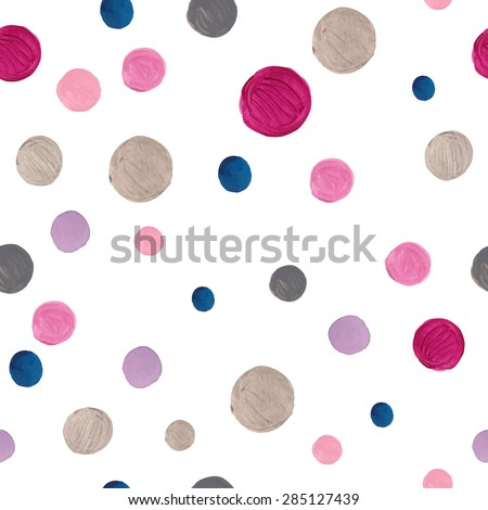Watercolor confetti dots pattern. Seamless texture with pink, blue, purple and silver dots on white background. Hand drawn abstract baby wallpaper in vector - stock vector