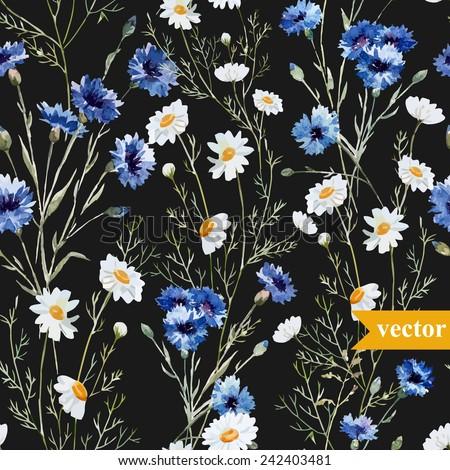 watercolor, cornflower, daisy pattern, black background - stock vector