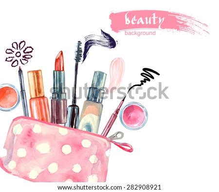 Watercolor cosmetics pattern. with  cosmetic bag and  make up artist objects: lipstick, eye shadows, eyeliner, concealer, nail polish. Vector illustration. - stock vector