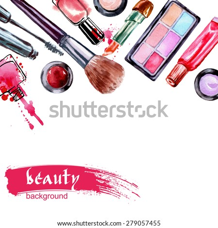 Watercolor cosmetics pattern  with make up artist objects: lipstick,  nail, perfumes, eye shadows, brushes, mascara . Hand drawn Vector beauty background. - stock vector