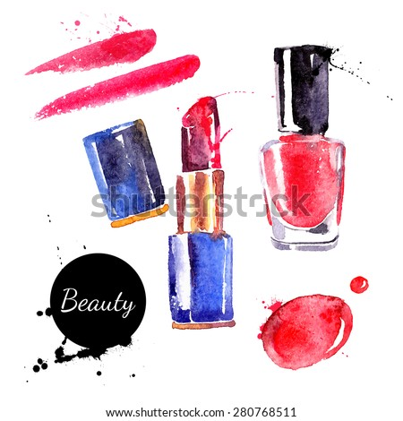 Watercolor cosmetics set. Hand painted make up objects: lipstic and nail polish. Vector beauty illustration - stock vector