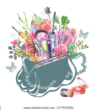 Watercolor cosmetics set with woman bag and flowers - stock vector
