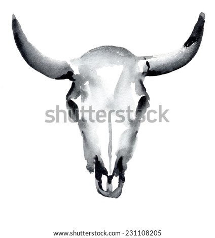 watercolor cow skull, vector illustration - stock vector