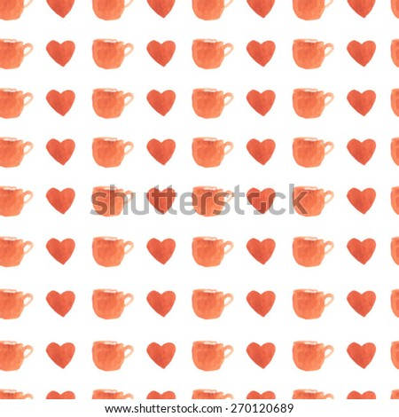 Watercolor cup and heart seamless pattern. love coffee. lovely cup pattern. Hand drawn seamless coffee pattern. Sweet background for menu, cafe, packaging. Retro backdrop. - stock vector