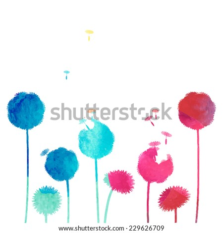 watercolor dandelion background - stock vector