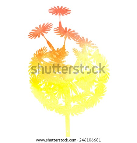 watercolor dandelion background - stock vector