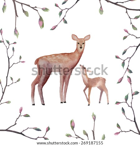 Watercolor deers illustration. Hand drawn deer family and tree twigs frame. Isolated vector art - stock vector