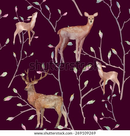 Watercolor deers in forest pattern. Seamless texture with various deer and tree twigs. Hand drawn natural repeating background. vector illustration - stock vector