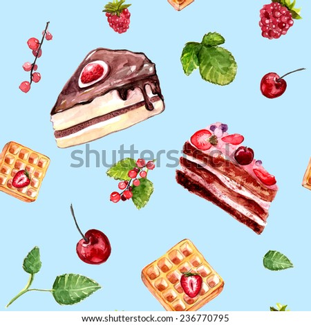Watercolor desserts seamless pattern with cakes, red currant and cherries. Food background with cafe assortment. - stock vector