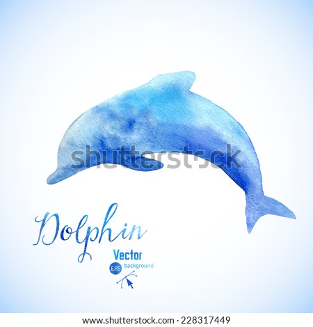 Watercolor dolphin background symbel. Jumping blue dolphin watercolor painted. - stock vector