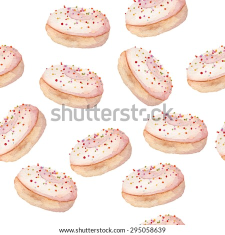 watercolor donut seamless sweets pattern eps10 - stock vector