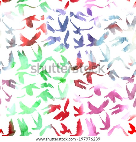 Watercolor Doves and pigeons seamless pattern on white background for peace concept and wedding design. Vector - stock vector