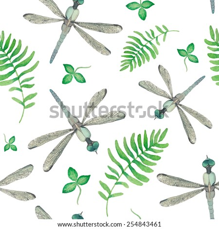 Watercolor dragonfly and field herbs pattern. Seamless summer background with cornflower, field grass and herbs. Vector natural texture - stock vector