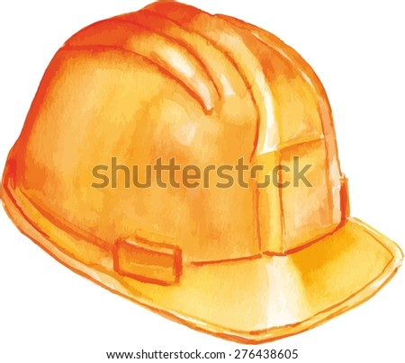 Watercolor drawing of a yellow hard hat, scalable vector drawing - stock vector