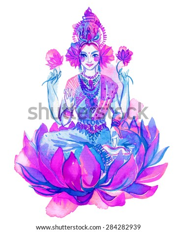 watercolor drawing of Lakshmi, a hindu goddess of wealth, love, and prosperity. Beautiful oriental woman sitting inside of a lotus flower, with four hands.vector  illustration with many ornaments.  - stock vector
