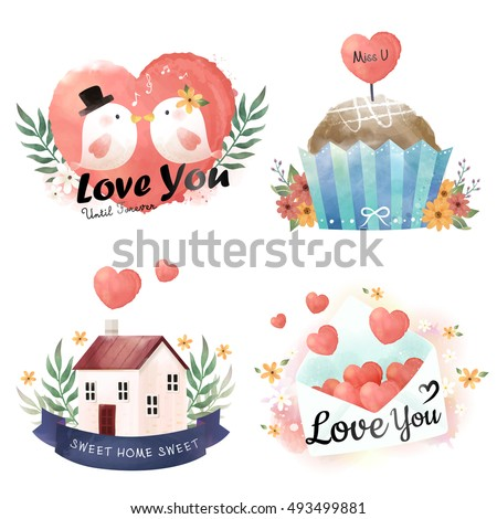 watercolor elements collection adorable bird cake home and love letter in hand drawn