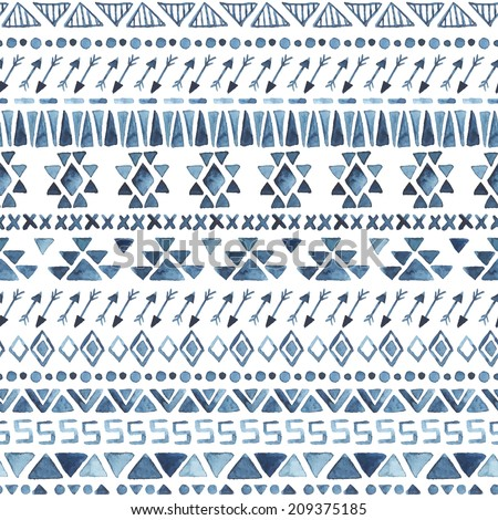 Watercolor ethnic seamless pattern. Aztec geometric background. Hand drawn blue pattern. Modern abstract wallpaper. Vector illustration.  - stock vector