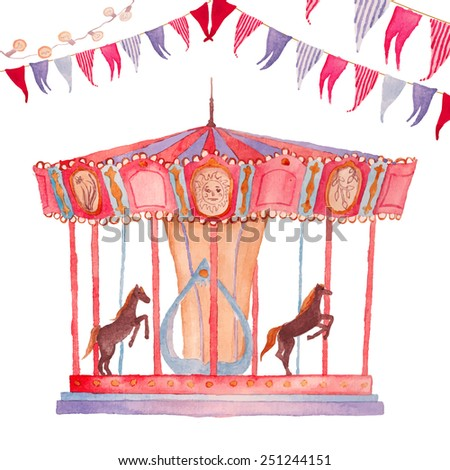 Watercolor Fair. Hand drawn vintage carnival objects: carousel, garland, festoon bulbs. Vector artistic illustration - stock vector