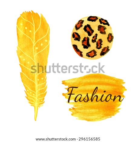 Watercolor fashion set in yellow color. Leopard circle  texture, feather. Ethnic vector - stock vector
