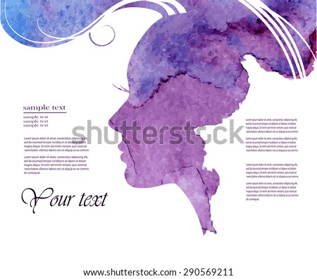 Watercolor Fashion Woman with Long Hair. Vector Illustration. Beautiful Mermaid Face. Girl Silhouette. Cosmetics. Beauty. Health and spa. Fashion themes. - stock vector