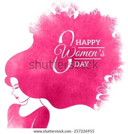 Watercolor Fashion Woman with Long Hair. Vector Illustration. Happy International Womens Day Greeting Card Design. Flowers Pattern. Typographic Composition for 8 March Day - stock vector