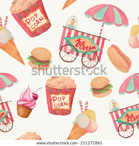 Watercolor fast food pattern. Seamless texture with vintage style food: ice cream, pop corn, cake, hot dog, hamburger. Retro background - stock vector